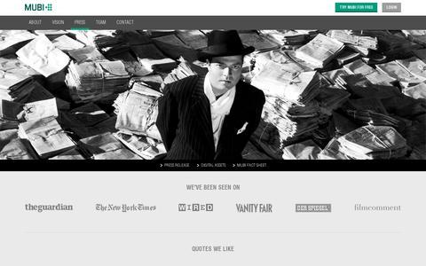 Screenshot of Press Page mubi.com - MUBI Press - captured July 20, 2014