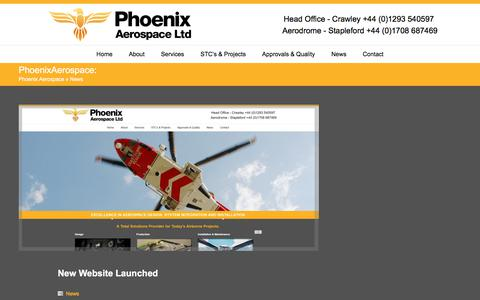 Screenshot of Press Page phoenixaerospace.co.uk - News Archives - Phoenix AerospacePhoenix Aerospace - captured July 30, 2017