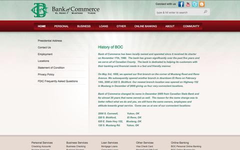 Screenshot of About Page bocokla.com - About Bank of Commerce - captured Oct. 10, 2017