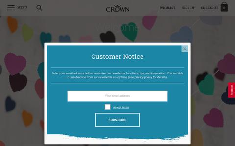 Screenshot of Login Page crownpaints.co.uk - Welcome | Crown Paints - captured Sept. 25, 2018