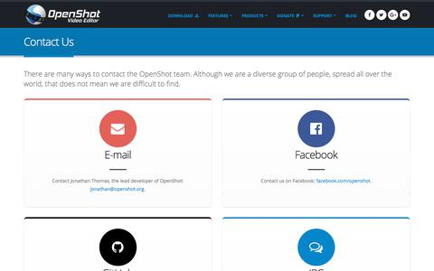 Screenshot of Contact Page openshot.org - OpenShot Video Editor | Contact Us - captured Sept. 22, 2018