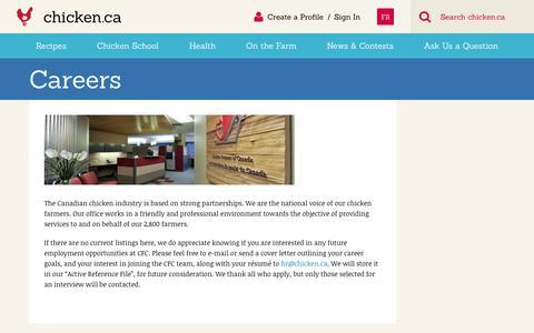 Screenshot of Jobs Page chicken.ca - Careers » Chicken.ca - captured Sept. 23, 2018