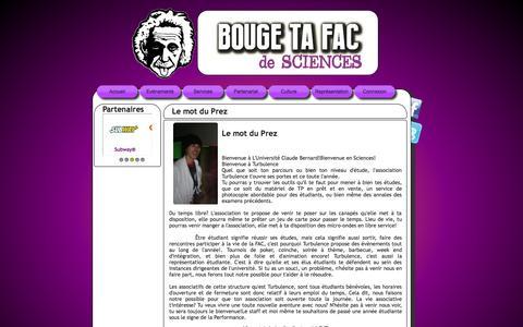 Screenshot of Home Page turbu.fr - Turbulence, l'association des étudiants en sciences de Lyon 1 - captured Oct. 7, 2014