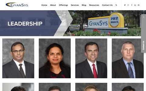 Screenshot of Team Page gyansys.com - About Our Leadership Team | GyanSys Inc. - captured Sept. 30, 2018