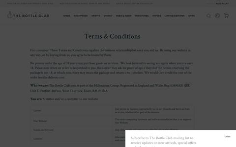 Screenshot of Support Page Terms Page thebottleclub.com - Terms & Conditions                  – The Bottle Club - captured Nov. 3, 2018