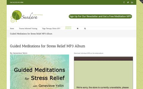 Screenshot of Products Page sundarayogatherapy.com - Guided Meditations for Stress Relief MP3 Album - Sundara Yoga Therapy - captured June 17, 2017