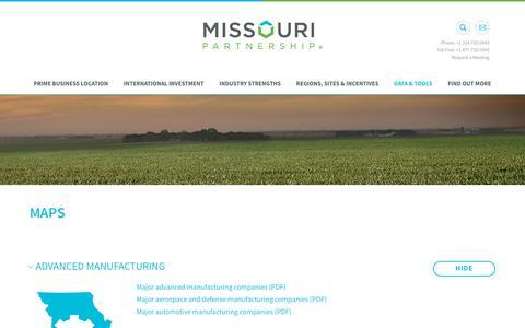 Screenshot of Maps & Directions Page missouripartnership.com - Missouri Partnership | Economic Development | Data and Tools | Maps - captured Nov. 7, 2018