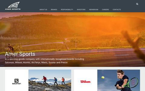 Screenshot of Home Page amersports.com - Home | Amer Sports - captured Oct. 8, 2017