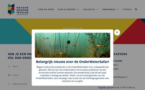Screenshot of Contact Page natuurmuseumfryslan.nl - Contact | Natuurmuseum Fryslân - captured Nov. 7, 2018