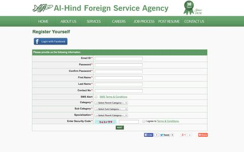Screenshot of Signup Page al-hind.com - AL-HIND.com | Careers opportunities with Ministry of Health | Ministry of Defence | King Faisal | Ministry of Higher Education - captured Oct. 4, 2014