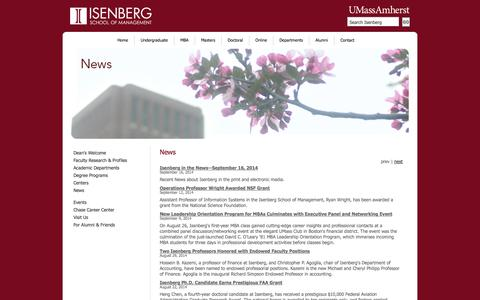 Screenshot of Press Page umass.edu - Isenberg School of Management: News - captured Sept. 17, 2014