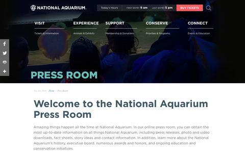 Screenshot of Press Page aqua.org - National Aquarium | Press Room - captured May 22, 2018