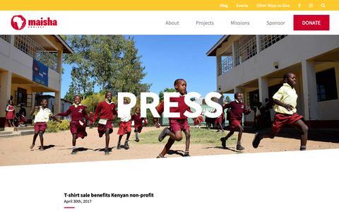 Screenshot of Press Page maishaproject.org - Press - Maisha Project   Maisha Means Life - captured Oct. 18, 2018