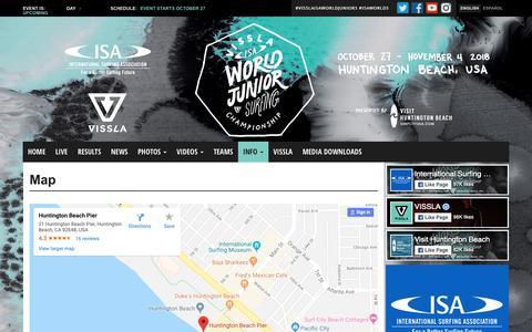 Screenshot of Maps & Directions Page isasurf.org - Map - 2018 VISSLA ISA World Junior Surfing Championship - captured Oct. 25, 2018