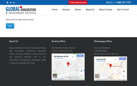 Screenshot of Login Page global-imm.ca - Files - Global Immigration - captured Sept. 28, 2018
