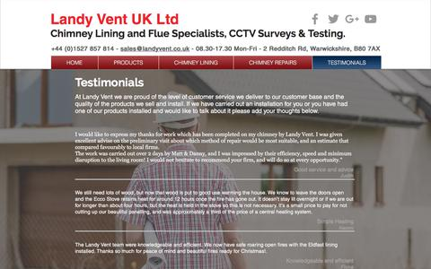 Screenshot of Testimonials Page landyvent.co.uk - Testimonials and Reviews - captured July 15, 2017