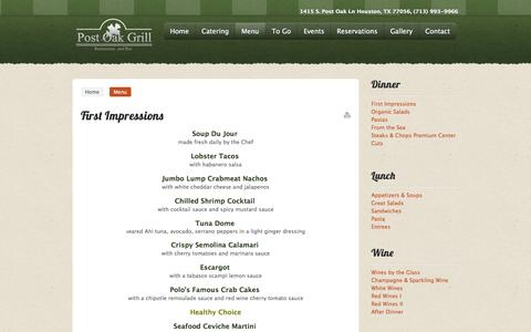 Screenshot of Menu Page postoakgrill.com - Post Oak Grill - Restaurant and Bar - captured Oct. 8, 2014
