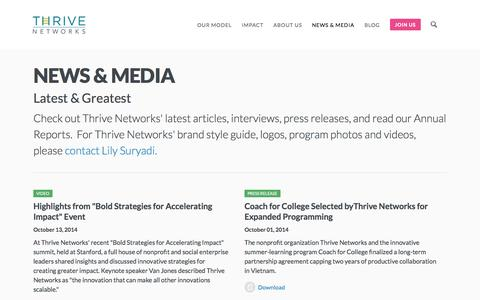 Screenshot of Press Page thrivenetworks.org - News & Media -         Thrive Networks - captured Oct. 28, 2014