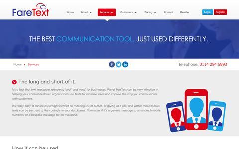 Screenshot of Services Page faretext.co.uk - FareText SMS – Services - captured Nov. 3, 2014