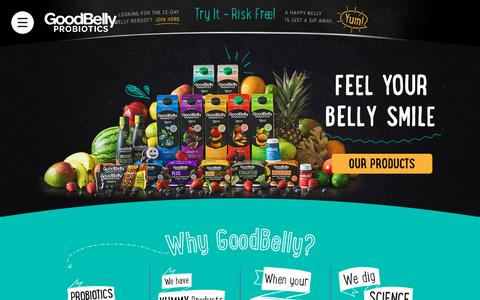 Screenshot of Home Page goodbelly.com - Probiotic Drinks & Snacks for a Healthy Belly | GoodBelly Probiotics - captured Sept. 29, 2018