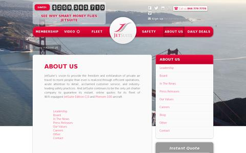 Screenshot of About Page jetsuite.com - About Us   JetSuite - captured July 20, 2014