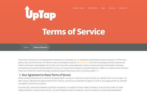 Screenshot of Terms Page uptap.com - Terms of Service | UpTap - captured Oct. 27, 2014