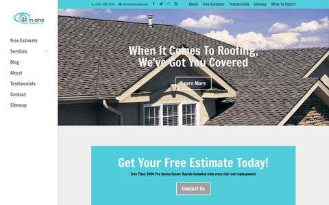 Screenshot of Home Page aiohomes.com - Residential & Commercial Roofing Company | All-In-One Home Solutions, LLC - captured Oct. 4, 2014