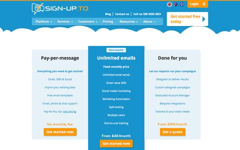 Screenshot of Pricing Page signupto.com - Email & SMS marketing pricing | Sign-Up.to - captured Sept. 19, 2014