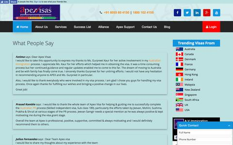 Screenshot of Testimonials Page apexvisas.com - What People Say | apexvisas.com - captured Aug. 27, 2017