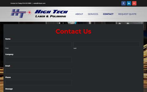 Screenshot of Contact Page htlaser.com - Contact Us - HT Laser - captured Sept. 28, 2018