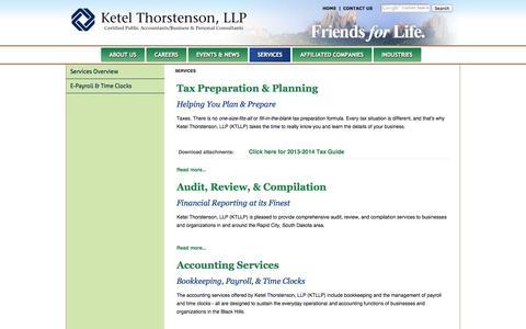 Screenshot of Services Page ktllp.com - Services - Ketel Thorstenson - captured Oct. 6, 2014