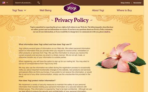 Screenshot of Privacy Page yogiproducts.com - Yogi Products Privacy Policy - captured Feb. 3, 2017
