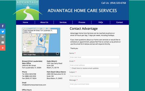 Screenshot of Contact Page advhomecareservices.com - Advantage Home Care Services - Home Health, Nurse Aides - captured Oct. 7, 2017