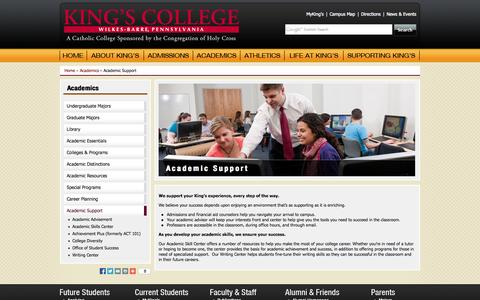 Screenshot of Support Page kings.edu - Academic Support | King's College - captured Sept. 19, 2014