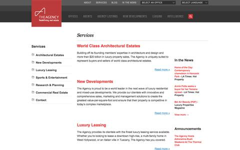 Screenshot of Services Page theagencyre.com - Services - The Agency - captured Sept. 24, 2014