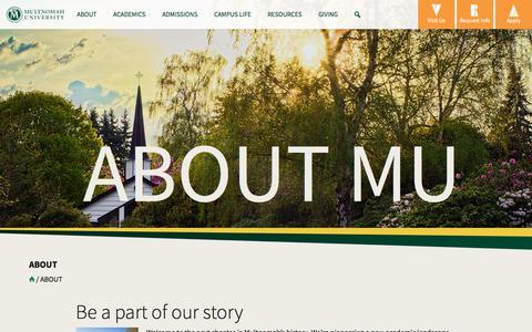 Screenshot of About Page multnomah.edu - About   Multnomah University - captured Nov. 12, 2017