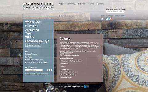 Screenshot of Jobs Page gstile.com - Careers - Garden State Tile - captured Jan. 25, 2016