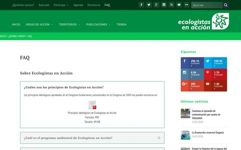 Screenshot of FAQ Page ecologistasenaccion.org - FAQ • Ecologistas en Acción - captured July 16, 2018