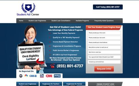 Screenshot of Home Page studentloanforgivenessplans.org - Student Aid Center - Student Loan Forgiveness - captured Sept. 23, 2014