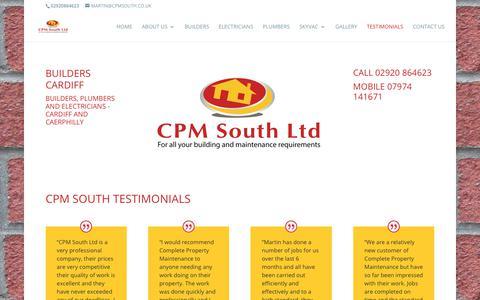 Screenshot of Testimonials Page builderscardiff.co - CPM South Testimonials - - captured Sept. 30, 2018