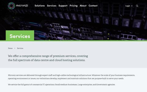 Screenshot of Services Page micron21.com - Data Centre & Cloud Hosting Services Australia | Micron21 - captured June 23, 2017