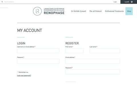 Screenshot of Login Page renophase.fr - My account | Renophase - captured Sept. 26, 2018