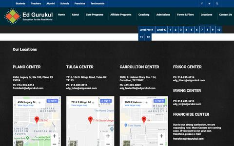 Screenshot of Locations Page edgurukul.com - Locations - Ed Gurukul - captured Sept. 27, 2018