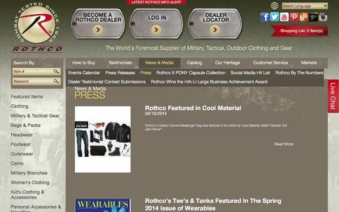 Screenshot of Press Page rothco.com - Press - captured Oct. 26, 2014