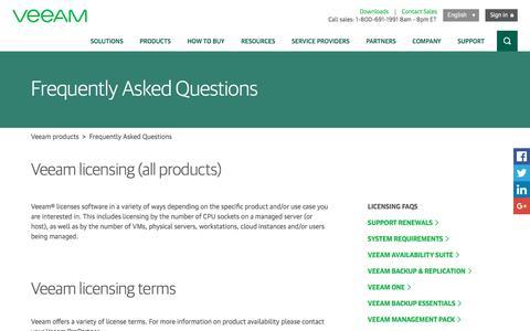 Screenshot of FAQ Page veeam.com - Veeam products licensing FAQ - captured Feb. 21, 2018