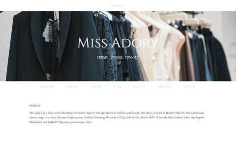 Screenshot of About Page missadory.com - Heritage — Miss Adory - captured Nov. 7, 2018