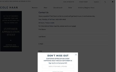Screenshot of Contact Page colehaan.com - Sites-ColeHaan_US-Site - captured Sept. 18, 2014