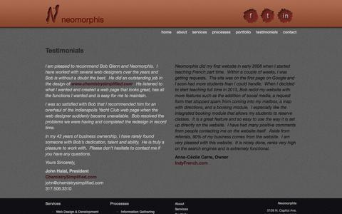 Screenshot of Testimonials Page neomorphis.com - Indianapolis Website Design & Development Testimonials - captured Jan. 7, 2016