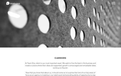Screenshot of Jobs Page teamone-usa.com - Careers | Team One - captured Jan. 16, 2016