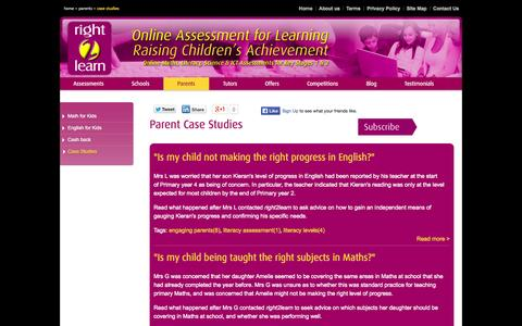 Screenshot of Case Studies Page right2learn.co.uk - Parent feedback on children's progress | Right2Learn case studies - captured Oct. 26, 2014